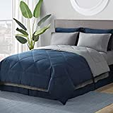 Bedsure Navy Queen Bed in A Bag - 8 Pieces Reversible Bedding Sets, Bed Sets Queen with Comforter and Sheets, Bedding Comforter Sets