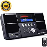 DPNAO Cd Player Portable Boom Box with Clock FM Radio Clock USB SD Aux Line-in for Lap top Home Kids