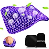 Purple Gel Seat Cushion, Double Purple Gel Seat Cushion with Non-Slip Cover for Long Sitting, Cold...