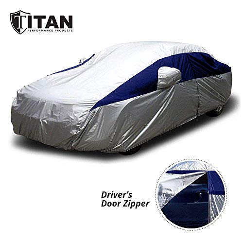 Titan Lightweight Car Cover (Midnight Blue) for Camry, Mustang, Accord and More. Waterproof Car Cover Measures 200 Inches, Comes with 7 Foot Cable and Lock. Features a Driver-Side Zippered Opening.
