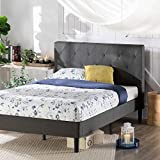 ZINUS Shalini Upholstered Platform Bed Frame / Mattress Foundation / Wood Slat Support / No Box Spring Needed / Easy Assembly, Dark Grey, Queen