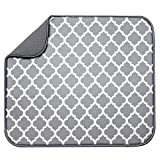 S&T INC. Absorbent, Reversible Microfiber Dish Drying Mat for Kitchen, 16 Inch x 18 Inch, White Trellis (497401)