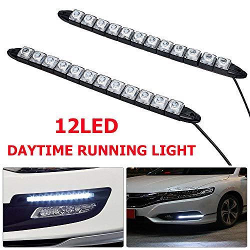 Maso - 2 luci di marcia diurna e fendinebbia, per auto, 12 LED, impermeabili, 12 V, colore: bianco