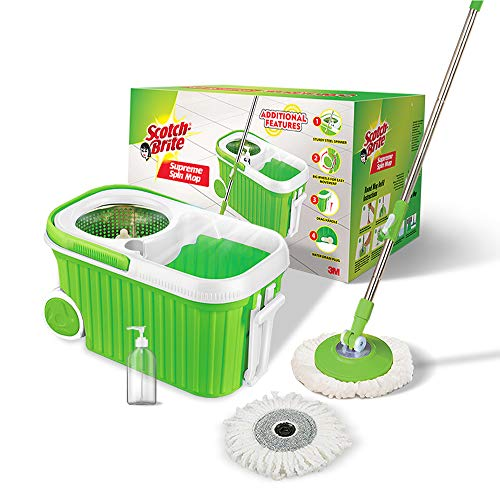 Scotch-Brite Supreme Spin Bucket Mop with Steel Spinner, Wheels, Drag Handle, Drain Plug & Dispenser...