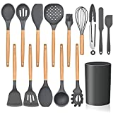 LIANYU 15-Piece Kitchen Silicone Cooking Utensils Set with Holder, Wooden Handle Kitchen Tools Include Spatula Tong Slotted Spoon Turner Whisk Brush, Black Gray