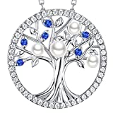 GinoMay Tree of Life Jewellery September Birthstone Blue Sapphhire Necklace Mum Birthday Gifts White Pearl Sterling Silver Pendant Women