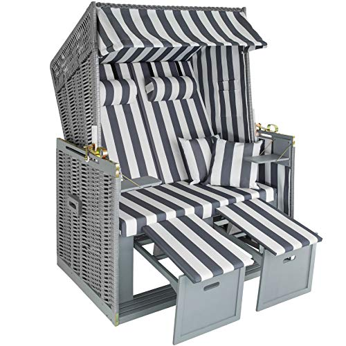 TecTake Zweisitzer Strandkorb + Premium Schutzhülle + 2 extra Kissen -Diverse Farben- (Grau-Weiß | Nr. 400636)