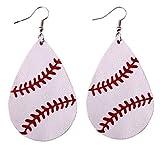 StylesILove Womens Teen Girls Baseball Teardrop Leather Dangle Earrings (White)