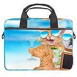 Divertido patrón bolsa de ordenador portátil expandible maletín para portátil de hasta 13.4 14.5 pulgadas, bolsa de mensajero para viajes, negocios, escuela, hombres y mujeres