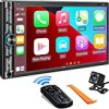 Double Din Car Stereo Compatible with Voice Control Apple Carplay - 7 Inch HD LCD Touchscreen Monitor, Bluetooth, Subwoofer, USB/SD Port, A/V Input, AM/FM Car Radio Receiver, Backup Camera