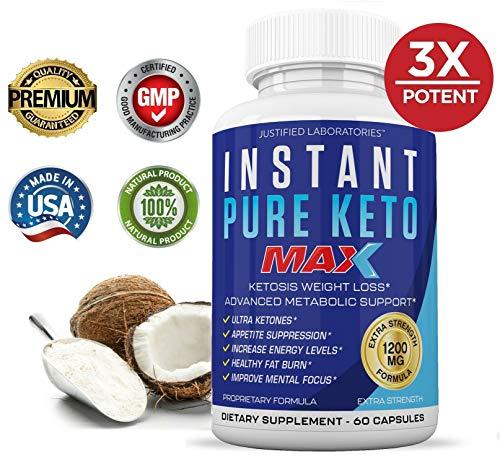 Instant Pure Keto Pills Max 1200MG Keto Pills Advanced BHB Ketogenic Supplement Exogenous Ketones Ketosis for Men Women 60 Capsules 1 Bottle 2