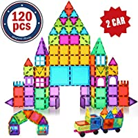 🏘️【Magnetic building tiles】Total:120PCS(118 basic shapes, 2 CARS), beautiful gift box with IDEA BOOK(While Picasso tiles have ONLY 100 PCS, with NO CARS), besides all our building tiles have magnetism.NO useless Non-magnetic letters and numbers 🏘️【MA...