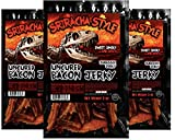 Sriracha Hot Sauce Bacon Jerky – JURASSIC JERKY'S Special Bacon Jerky with Amazing taste, MSG-Free Spicy Meat Snacks - Keto Food on the Go This bacon packs a punch, the heat comes from genuine Sriracha Hot Sauce! Great protein boost for the gym, office or on the go! (3 count)