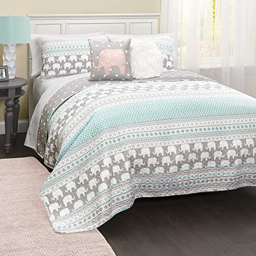 Lush Decor Elephant Striped Quilt Reversible 4 Piece Bedding Set, Twin, Pink & Turquoise