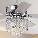 LuxureFan 52Inch Antique Crystal Ceiling Fan Light Bulbs Unique Love Shape Lampshade 5 Reverse Wood Blades 3 Speed Remote Control Modern Ceiling Fan Chrome Chandelier Decorates Home