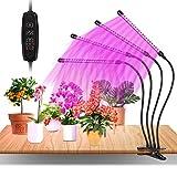 Grow Light, Led Cultivo Interior con 80 LED, Espectro Completo, Brillo de 10 Niveles Ajustable y Tubo Giratorio 360  de 4 Cabezales para la Germinacin, el Crecimiento y la Floracin de las Plantas