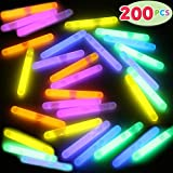 JOYIN 200 Pcs Mini Glow Sticks Bulk with 8 Colors for Glow Easter Egg, Kids Glow-in-The-Dark, Easter Basket Stuffers Gift, Easter Party Favors, Christmas Halloween Party Supplies, Football Party Suppl