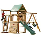 Swing-N-Slide PB 8320N Trekker Swing Set (4x4 uprights not Included) with Slide, Monkey Bars, Climbing Wall and Swings, Wood