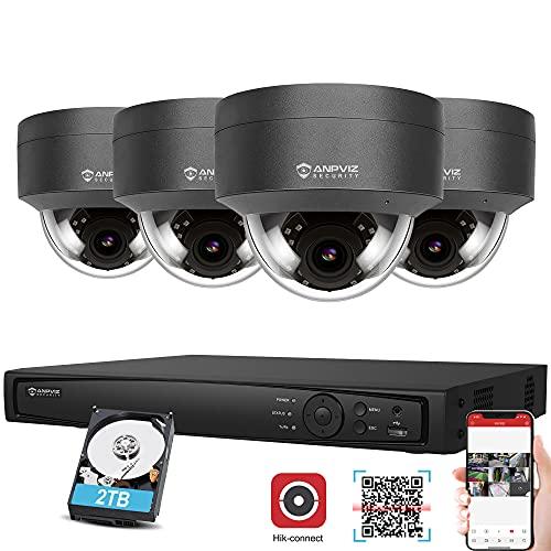 Anpviz 8CH 4K PoE NVR Kit Telecamera di sicurezza HDD 2TB Sistema di sicurezza, 4x 5MP IP PoE Telecamera Esterno Videosorveglianza, Visione notturna impermeabile Microfono