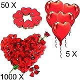 Jonami Bougies Romantiques et Pétales. 50 Bougies en Forme de Coeur + 1000 Pétales de Rose Rouges en Soie + 5 Ballons Coeur Rouges - Décoration pour Mariage, Saint Valentin et Fiançailles