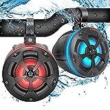 2-Way Waterproof Off Road Speakers - 4' 800W Active Passive Marine Grade Wakeboard Tower Speakers System w/RGB Light, Full Range Outdoor Audio Stereo Speaker for ATV/UTV, Jeep, Boat - Pyle PLUTV45BTR