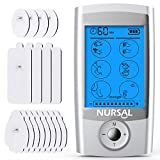 [16 Thicker Pads] NURSAL EMS TENS Unit Muscle Stimulator, 16 Modes Rechargeable Electric Pulse Muscle Massager for Pain Relief (FDA Approved)