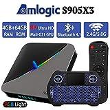 Android TV Box 9.0 4GB 64GB Smart TV Box Amlogic S905X3 with Backlit Wireless Mini Keyboard USB 3.0 Ultra HD 4K 8K HDR Dual Band WiFi 2.4GHz 5.8GHz BT 4.1 RGB Lights Set Top Box Streaming Media Player