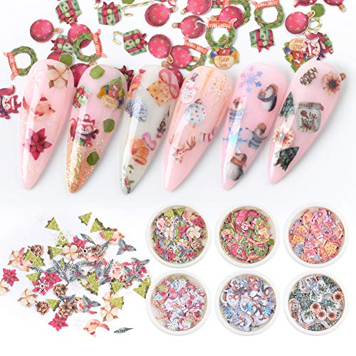 Nail Art 3D Christmas Sequin Nail Flakes Acrylic Paillettes Christmas Glitter Wood Chips Nail Decals Wreath Bells Tree Snowman Reindeer Squirrel Design Manicure Tips Decor 6 Boxes