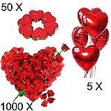 Jonami Bougies Romantiques et Pétales. 50 Bougies en Forme de Coeur + 1000...