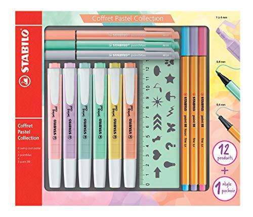 Stabilo f52064Pastel Collection–Coffret combinada (13piezas: 6Swing Cool, 3Point 88, 3pointmax con 1regla plantilla