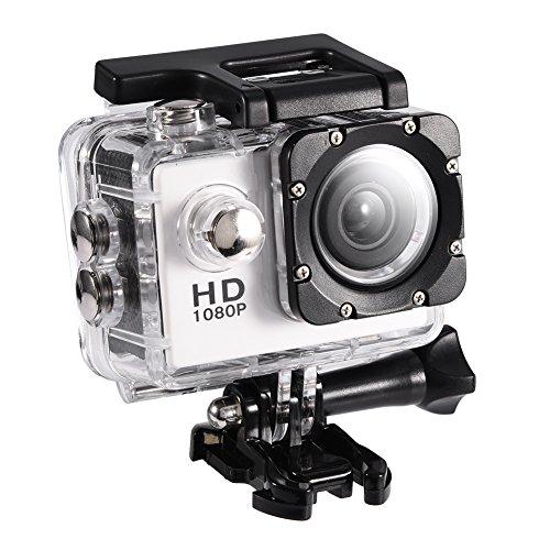 Action Cam 4K 12MP Ultra Full HD Impermeabile 30M Sott'Acqua Camera con 90°Grandangolare 2.0 Pollici 900mAh Batterie con Custodia Impermeabile e Kit di Accessori (White)