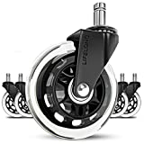 Office Chair Wheels Replacement Rubber Chair casters for Hardwood Floors and Carpet, Set of 5, Heavy Duty Office Chair Ball casters for Chairs to Replace Chair mats - Universal fit
