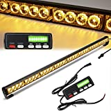 Traffic Advisor Light Bar 36 Inch 16 Flash Modes 32 Led Emergency Strobe Warning Lights Directional Bar Hazard Warning Flashing Safety Light with Led Display Screen Controller(35.5 Inch, Yellow/Amber)