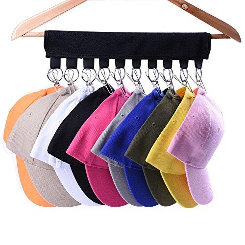 LEKUSHA Cap Organizer Hanger, 10 Baseball Cap Holder, Hat Organizer for Closet - Change Your Cloth Hanger to Cap...