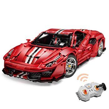 12che Remote Control Technic Car Compatible with Lego Supercar Building Blocks Model RC Technic Sports Car for Ferrari 488 Pista - 3187pcs