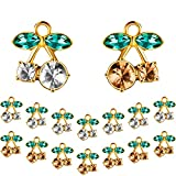 36 Pieces Cherry Crystal Charm Gold Cherry Shaped Pendants DIY Jewelry Cherry Charm for Jewelry...