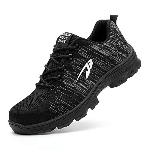 Zapatos De Seguridad para Hombre con Puntera De Acero Mujer Calzado De Trabajo Zapatos De Deportivos Transpirables Construcción Botas Trekking Black 43