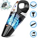 Handheld Vacuum,7000PA Powerful Cyclonic Suction Mini Handheld Vacuum Cordless Cleaner, Wet & Dry Portable Lightweight Handheld Vacuum for Home pet and Car Cleaning,Gold