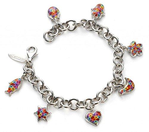Blessing Millefiori braccialetto in argento, gioielli, con ciondoli a fiore, realizzati a mano, argilla polimerica, idee regalo per lei