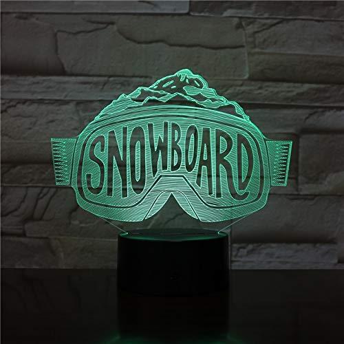 olwonow USB 3D LED Night Light Sci Snowboard Sci Luci Decorative Ragazzi Bambino Bambini Regali per Bambini Occhiali da Sci Lampada da Tavolo Comodino Neon