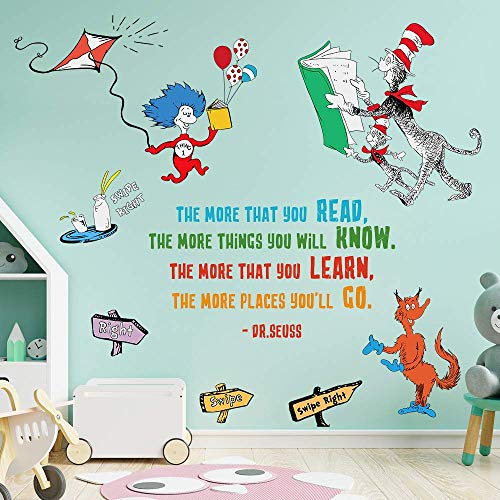 Supzone Dr Seuss Wall Decals Quotes Saying The More That You Read The More You Will Know Kids Wall Stickers for Baby Nursery Bedroom Playroom Classroom Living Room Inspirational Wall Décor