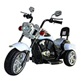 DTI DIRECT Chopper Style Electric Ride ON Motorcycle for Kids - 6V Battery Powered 3 Wheel Ride ON Toy for Boys, Girls, and Toddlers - White