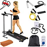 Sunny Health and Fitness SF-T1407M Manual Compact Walking Treadmill with LCD Monitor Bundle with Deco Gear Home Gym 7pc Fitness Kit, Workout Cooling Sport Towel and Magnetic Wireless Sport Earbuds
