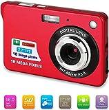Bosszi Fotocamera Digitale 18 Mega Pixel 2.7'1280 × 720 HD Ricaricabile LCD e Videocamera Digitale per Studenti/Anziani/Bambini (rosso)