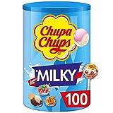 Chupa Chups - Tubo de 100 Sucettes Lait - Parfums Choco/Vanille,...