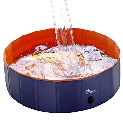 Pidsen Hundepool Swimmingpool PVC tragbare Faltbare Hunde Katzen Bad Wanne Badewanne Waschbad Haustier Schwimmbad Wasser Teich (100 * 30cm, Orange)