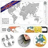 #benehacks Carte du Monde à gratter Poster Mural en GAULOIS - Décoration carnet de Voyage...