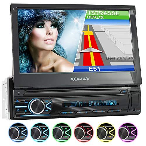 XOMAX XM-VN745 Autoradio con Mirrorlink I Navigatore GPS I Bluetooth I 7' / 18 cm Schermo Touch Screen I RDS, USB, AUX I Collegamenti per retrocamera e telecomando a volante I 1 DIN