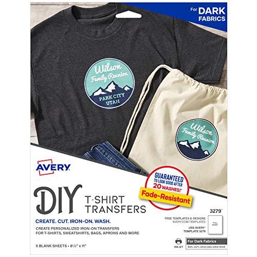 Avery Printable Heat Fabric Transfer Paper for DIY Projects on Dark Fabrics -- Make Custom Bandanas, Pack of 5 (3279)