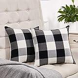Set of 2 Black and White Buffalo Check Plaid Throw Pillow Covers Farmhouse Decorative Square Pillow Covers 18x18 Inches for Farmhouse Home Decor